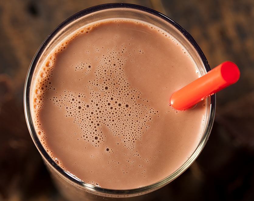 Glass of chocolate milk.
